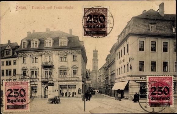 Ak Zittau in der Oberlausitz, Neustadt, Frauenstraße, Weberei, William Steudtner, Wiener Café