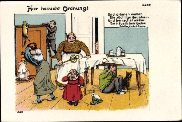 Litho Hier herrscht Ordnung, Ehehumor, Frau mit Teppichklopfer, Bruno Bürger 6966