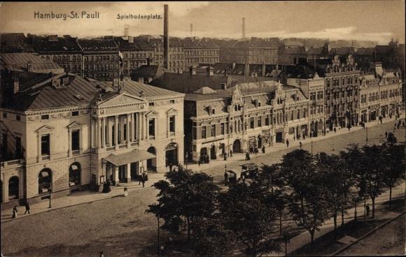 Ak Hamburg Mitte St. Pauli, Partie auf dem Spielbudenplatz, Häuser
