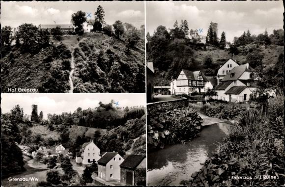 Ak Grenzau Höhr Grenzhausen im Westerwaldkreis, Ruine, Hof Wilil Meyer, Teilansicht, Bach
