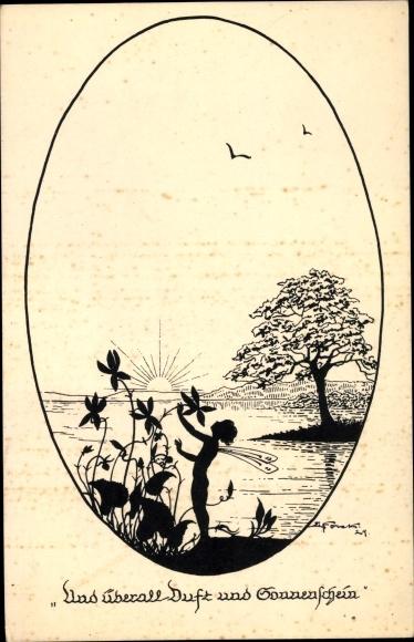 Künstler Scherenschnitt Ak Forck, Elsbeth, Der Geruch, Duft und Sonnenschein, Fee, Sonne,