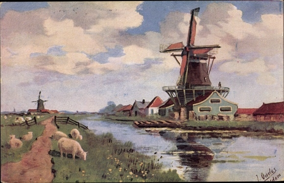 Künstler Ak Ouedes, J., Flusspartie mit einer Windmühle, grasende Schafe