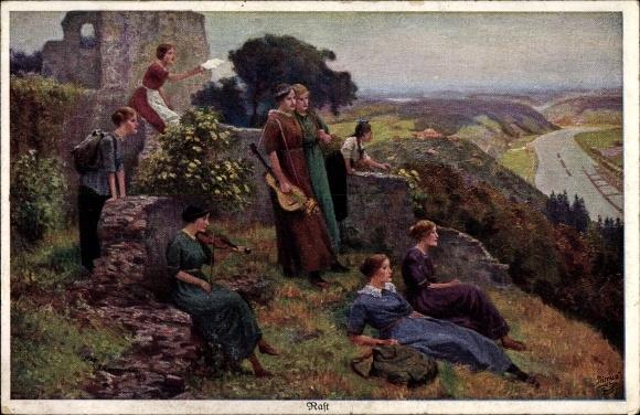 Künstler Ak Kämmerer, Rob., Rast, Wandervögel, Gitarre, Geige, Primus 1143