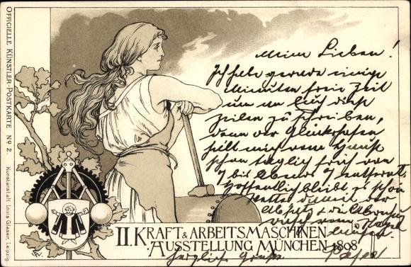 Künstler Ganzsachen Litho München, II. Kraft- und Arbeitsmaschinen Ausstellung 1898, Münchner Kindl