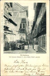 Ak Hamburg Altstadt, Blick in den Hof 5 vom Johannes Bollwerk, De scheebe Stebel, Anwohner