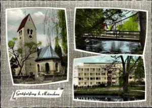 Ak Gräfelfing in Oberbayern, Kirche, Außenansicht, Partie an der Brücke, Gebäude