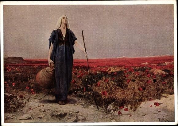 Künstler Ak Piglhein, Blinde Frau mit Tonkrug, Ackermann Nr. 3083