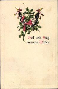 Präge Litho Heil und Sieg unseren Waffen, Fahnen, Eichenlaub, Patriotik Kaiserreich