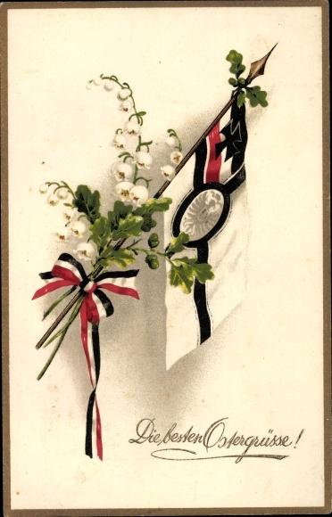 Litho Glückwunsch Ostern, Fahne, Eichenlaub, Patriotik Kaiserreich