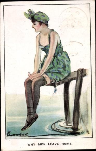 Künstler Ak Why men leave home, Frau in Unterwäsche auf einem Steg sitzend