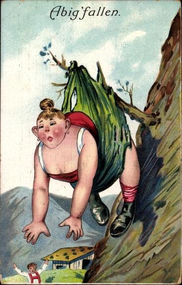 Präge Litho Abig'fallen, Frau ist einen Berg herabgestürzt und hängt am Ast fest