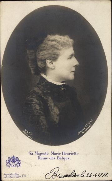 Ak Marie Henriette, Königin von Belgien, Portrait, Profilansicht