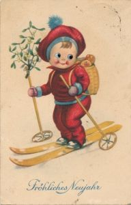 Wackelaugen Ak Glückwunsch Neujahr, Kind auf Skiern mit Rollen, Mistelzweige