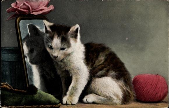 Ak Kleine Katze sitzt vor einem Spiegel, Wollknäuel, Pantoffel