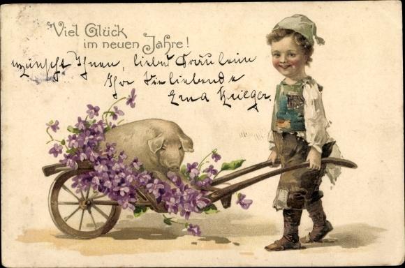 Litho Glückwunsch Neujahr, Junge mit Schwein und Veilchen im Handkarren