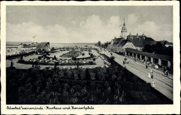 Ak Świnoujście Swinemünde Pommern, Kurhaus, Konzerplatz