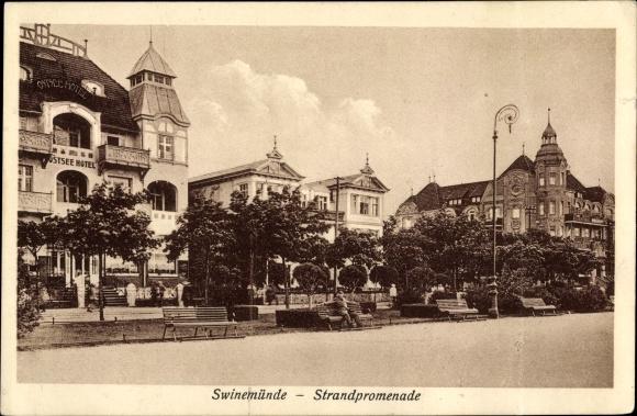 Ak Świnoujście Swinemünde Pommern, Strandpromenade, Ostsee Hotel