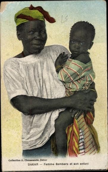 Ak Dakar Senegal, Femme Bambara et son enfant, Mutter mit Kind