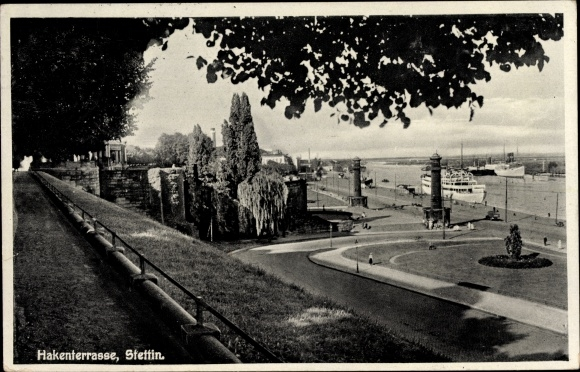 Ak Szczecin Stettin Pommern, Hakenterrasse, Hafen