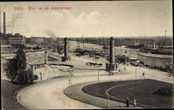 Ak Szczecin Stettin Pommern, Hafen von der Hakenterrasse