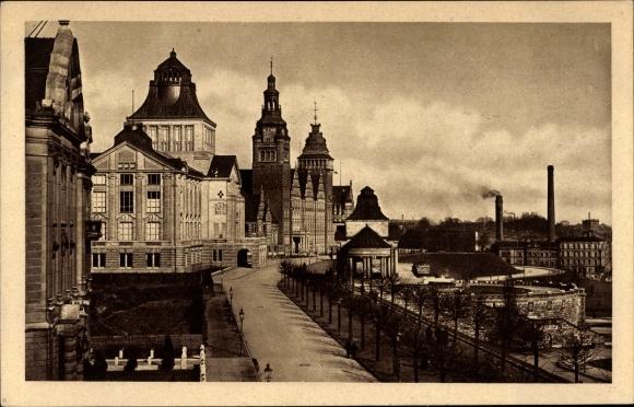 Ak Szczecin Stettin Pommern, Hakenterrasse, Regierungsgebäude, Museum