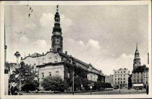 Ak Bolesławiec Bunzlau Schlesien, Markt mit Rathaus