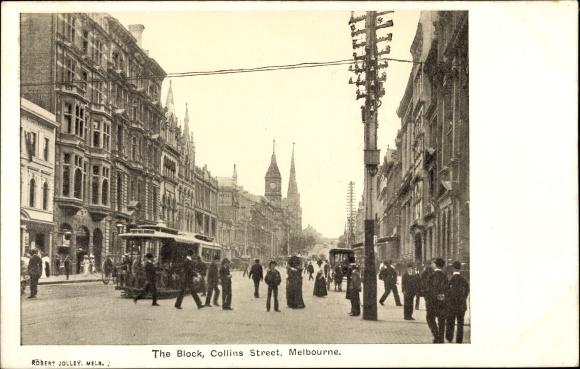 Ak Melbourne Australien, The Block, Collins Street, Straßenbahn, Passanten