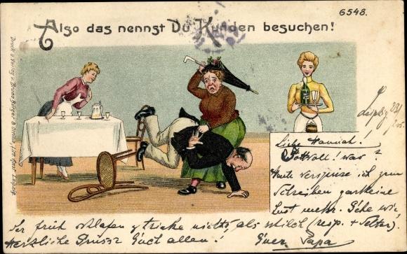 Litho Also das nennst du Kunden besuchen, Ehehumor, Frau verprügelt Ehemann, Bürger & Ottilie 6548