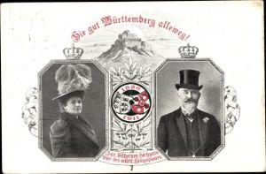 Ganzsachen Ak Wilhelm II. König von Württemberg, Charlotte zu Schaumburg Lippe, Silberne Hochzeit