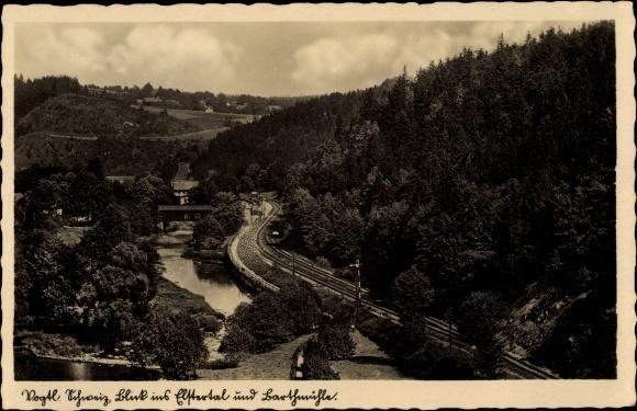 Ak Barthmühle Pöhl Vogtland, Blick ins Elstertal und zur Barthmühle
