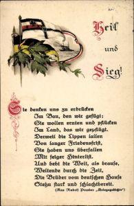 Gedicht Ak Heil und Sieg, Sie denken uns zu erdrücken, Kriegsschiff, Fahnen, Lorbeer