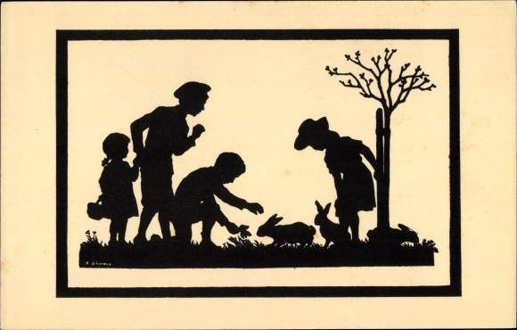 Scherenschnitt Ak Schirmer, Anna, Bei den Hasen, Kinder, Ackermann 157 1887