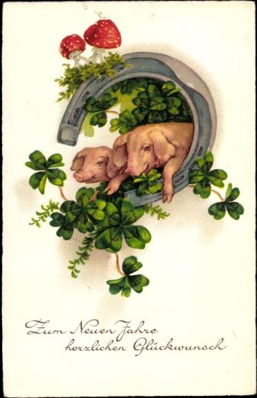 Ak Glückwunsch Neujahr, Schweine, Kleeblätter, Fliegenpilze, Hufeisen, EAS