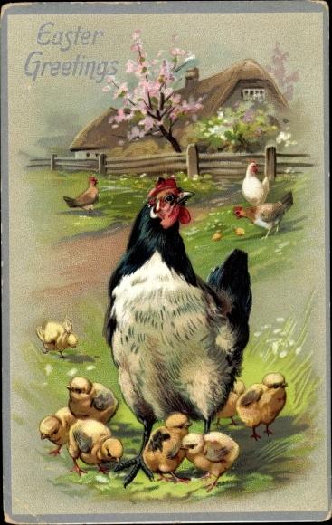 Präge Litho Glückwunsch Ostern, Hühner und Küken auf einer Wiese, Tuck 105