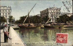 Ak Annaba Bône Algerien, Vue sur le Port et le Cours Bertagna