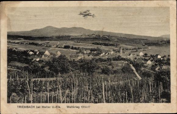 Ak Triembach au Val Elsass Bas Rhin, Flugzeug, I. WK, Ortspanorama
