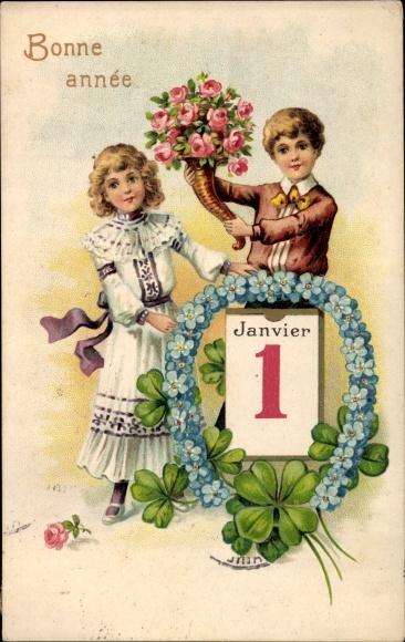 Präge Ak Glückwunsch Neujahr, Kalenderblatt, 1. Januar, Hufeisen, Kleeblätter