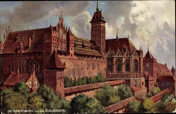 Künstler Ak Malbork Marienburg Westpreußen, Burg von der Südostseite, Tuck 710B