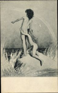 Jugendstil Ak Fidus, Auf der Klippe, Akt