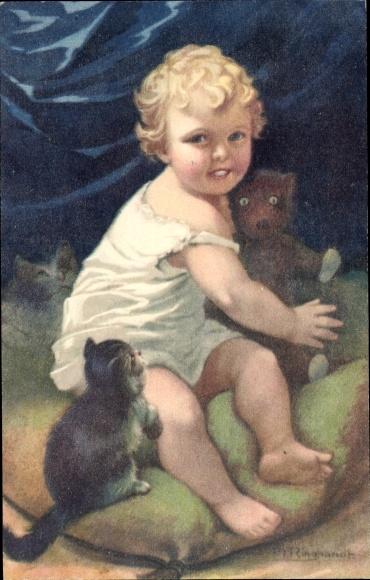 Künstler Ak Ringhandt, Mein Teddy, Kleinkind mit Teddybär, junge Katze
