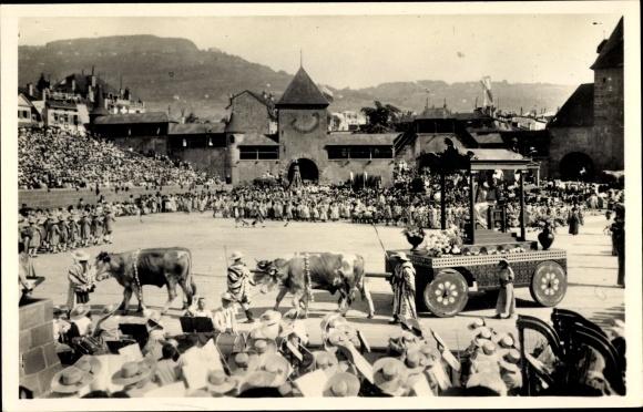 Ak Vevey Kt. Waadt Schweiz, Fete des Vignerons 1927, Le char de Palès