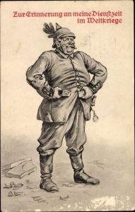 Litho Zur Erinnerung an meine Dienstzeit im Weltkriege, deutscher Soldat in Uniform