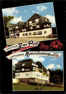 Ak Neuastenberg Winterberg im Sauerland, Gasthof Zur Post, Außenansicht, Postkutsche