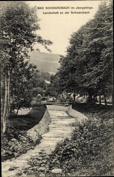 Ak Świeradów Zdrój Bad Schwarzbach Schlesien, Landschaft an der Schwarzbach