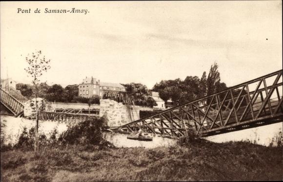 Ak Amay Wallonien Lüttich, Pont de Samson Amay, Kriegszerstörungen, I. WK