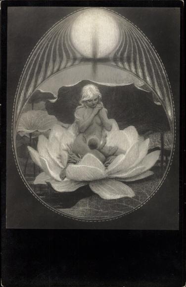 Jugendstil Ak Fidus, Weihnacht, Frau mit Kind in Wasserrose, Kohledruck von 1890