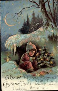Litho Frohe Weihnachten, Happy Christmas, Kind zündet Kerzen an Tannenbaum an, Winterlandschaft