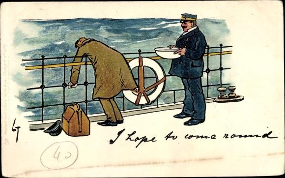 Litho Seekranker Passagier an Bord eines Dampfers