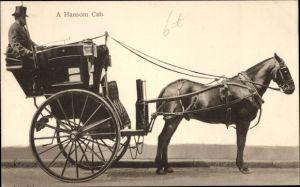 Ak A Hansom Cab, Pferdekutsche, Kutscher