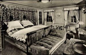 Foto Ak Dampfschiff New York, HAPAG, Luxuskabine, Doppelbett
